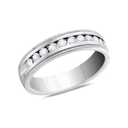 Laides Diamond Anniversary and Wedding Band 1/2 Carat (ctw Color H-I Clarity I1-I2) in 14K White Gold