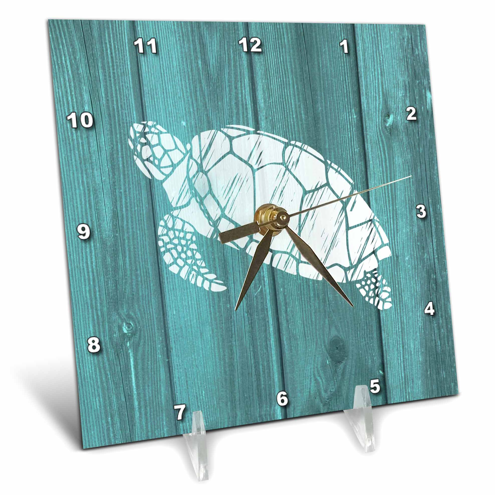 3dRose Turtle Stencil in White over Teal Weatherboard- not real wood, Desk Clock, 6 by 6-inch by 3dRose