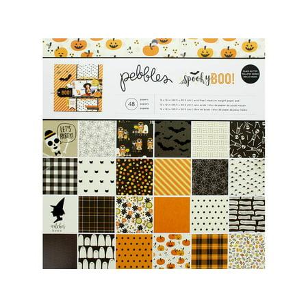 Pebbles Spooky Boo Paper Pad 12x12 (Argyle 12x12 Paper)