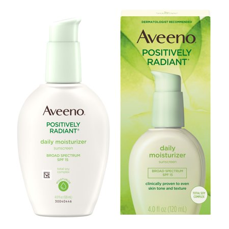 Aveeno Positively Radiant Daily Face Moisturizer SPF 15 & Soy, 4 fl. (Best Natural Face Moisturizer For Oily Skin)
