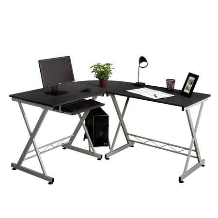 Keyboard Tray For Corner Workstation : ubesgoo l shaped desk office computer glass corner desk with keyboard tray ~ Russianpoet.info Haus und Dekorationen