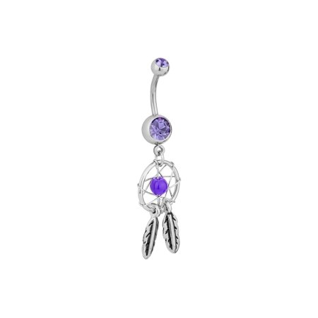 Surgical Steel Purple Double Jeweled Dream Catcher Feathers Dangle Belly Button Ring