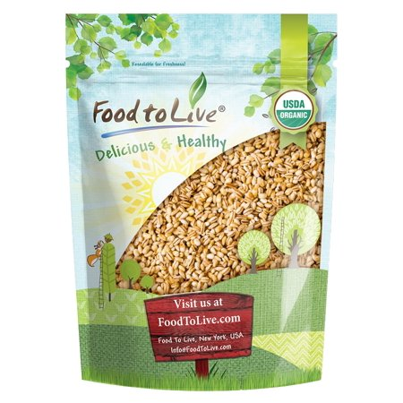Organic Pearl Barley, 1 Pound - Hulled, Kosher, Non-GMO, Organic, Raw, Sproutable, Vegan - by Food to (Activated Barley)