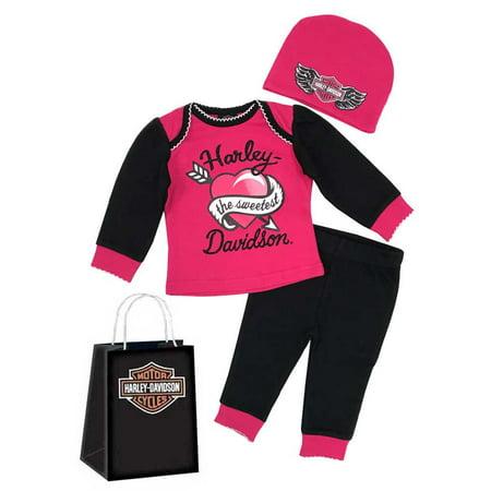 Harley-Davidson Baby Girls' Glittery 3-Piece Gift Set w/ Gift Bag, Pink 2503817, Harley Davidson (Girls Gift Bags)