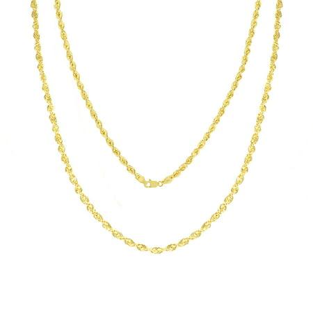 10k Yellow Gold Womens 2.5mm Dainty Rope Diamond Cut Pendant Chain Necklace 16