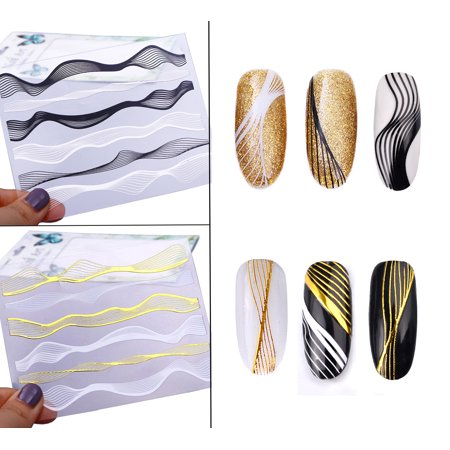 Beaute Galleria - 2 Sheets Metallic Wave Striping Design 3D Nail Art Self-Adhesive Sticker Tape for Nail Decals Tips Decoration Manicure for $<!---->