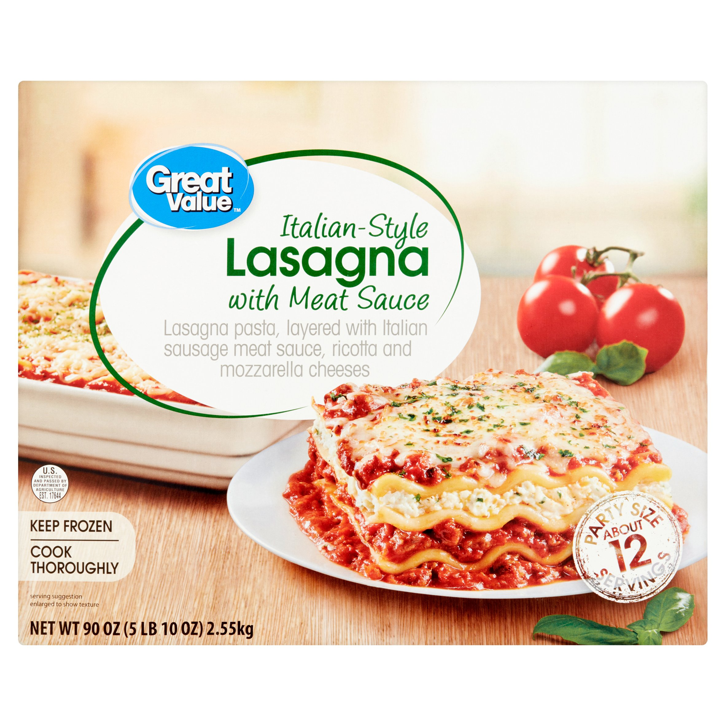 Great Value Italian-Style Lasagna with Meat Sauce Party Size, 90 oz
