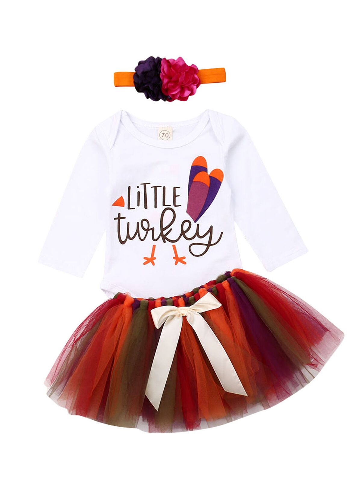 4pcs Baby Kid Girl 1st Birthday Thanksgiving Outfits Socks+Headband+Top+Skirt N