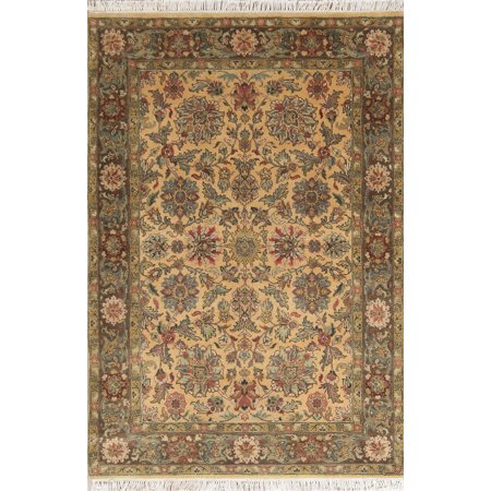 Brown Floral Oushak Agra Indian Hand Knotted Oriental Area Rug 4x6