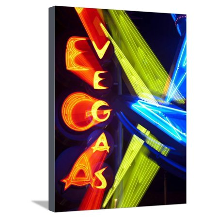 Neon Vegas Sign at Night, Downtown, Freemont East Area, Las Vegas, Nevada, USA, North America Stretched Canvas Print Wall Art By Gavin