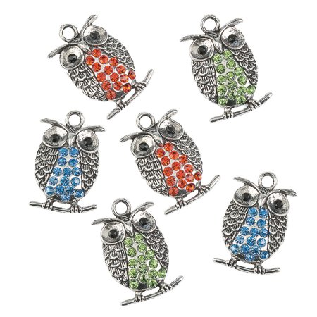 Fun Express - Rhinestone Metal Owl Charms for Fall - Craft Supplies - Adult Beading - Charms - Fall - 6 Pieces ()
