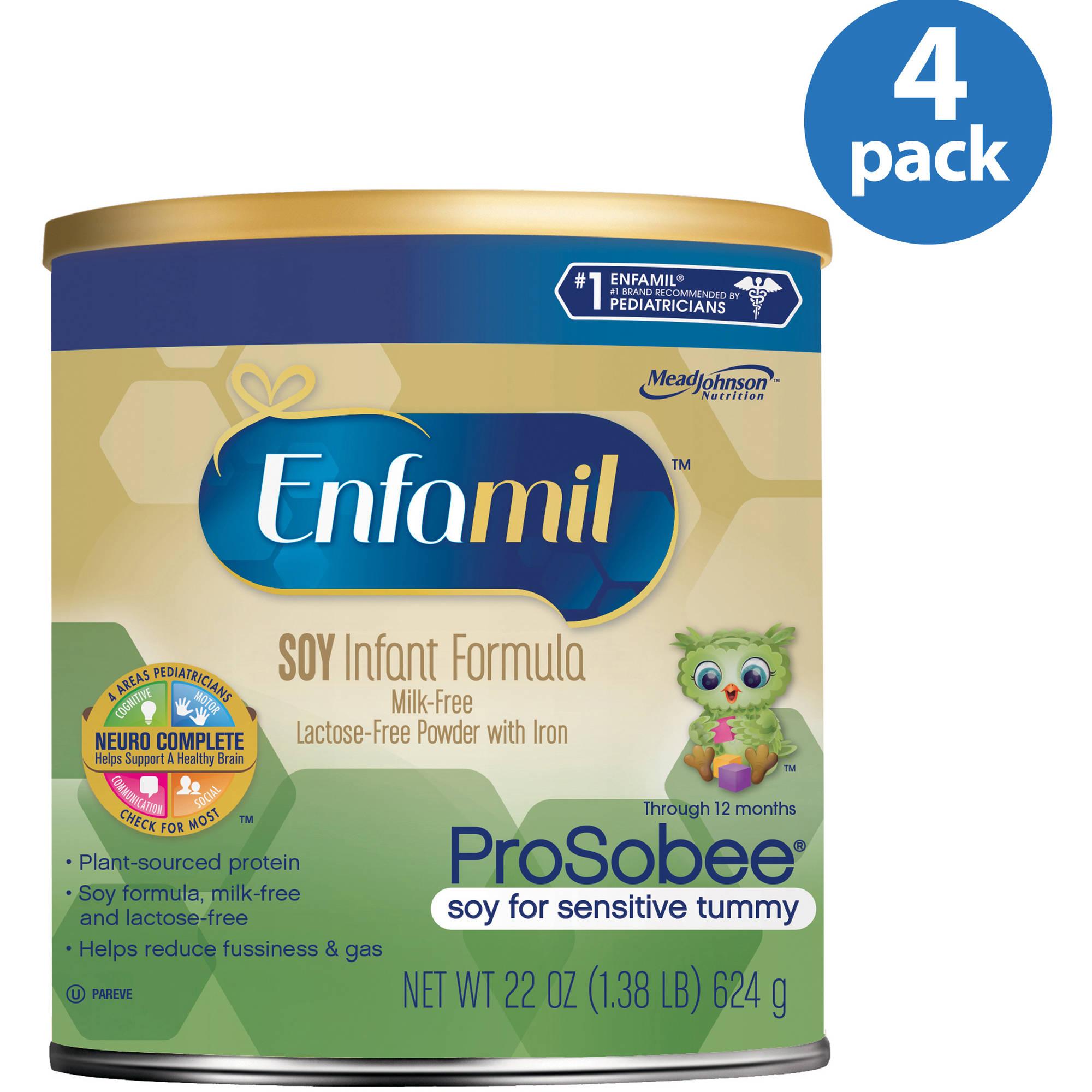 Enfamil Prosobee soy baby formula - 22 oz Powder Can (Pack of 4)