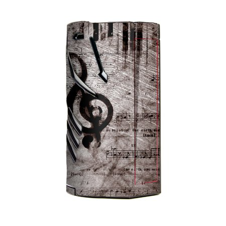 Skin Decal Vinyl Wrap for Smok T-Priv 3 Kit 300w TC Vape skins stickers cover / Vintage Piano Key Music Notes book page - Halloween Music Piano Notes