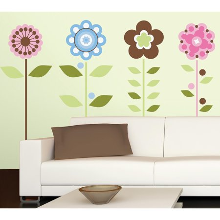growing flowers peel and stick wall decals. Black Bedroom Furniture Sets. Home Design Ideas
