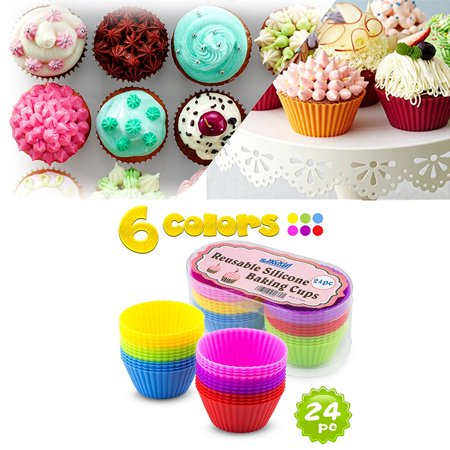Silicone Molds Cupcake Baking Cups 24 Pack - Reusable Muffin Cup Liners - BPA Free Cupcake Wrappers (Halloween Cupcake Wrappers Uk)