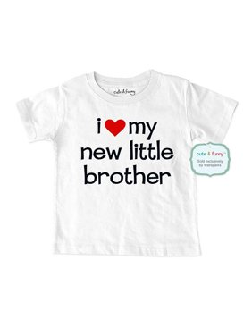 I Love my new little brother - wallsparks cute & funny Brand - Soft Infant & Toddler Shirt - Surprise baby birth pregnancy announcement