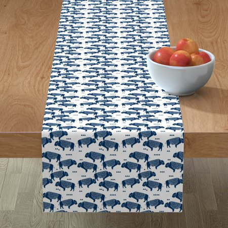Image of Table Runner Buffalo Navy Blue Boys Little Boys Baby Boy Wyoming Cotton Sateen