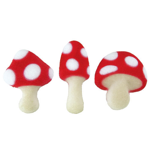 Toad Stool Assortment Mushrooms Sugar Decorations Toppers Cupcake Cake Cookies Birthday Favors Party 12 Count