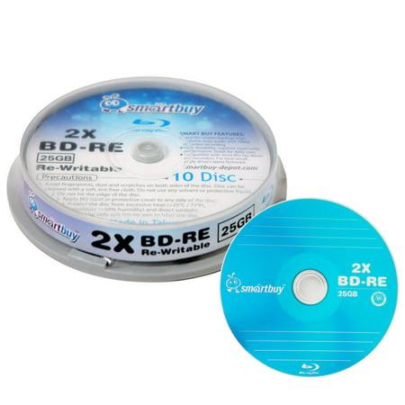 10 Pack Smartbuy 2x 25GB Blue Blu-ray BD-RE Rewritable Branded Logo Blank Bluray