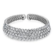 Bridal Wide 4 Row Crystal Fashion Statement Choker Necklace for Women for Teen for Prom Pageant for Wedding Adjustable