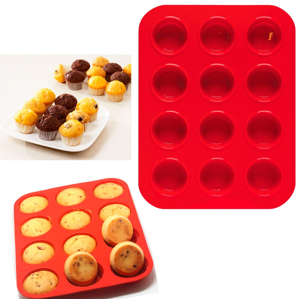 Click here to buy 2 Mini Muffin Silicone 12 Cup Cavity Cookie Cupcake Bakeware Pan Soap Tray Mold by KOLE IMPORTS.