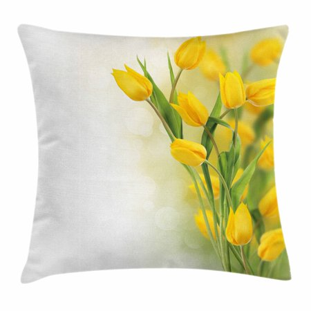 Yellow Flower Throw Pillow Cushion Cover, Romantic Tulip Bouquet Famous Plant of Netherlands Botanical Theme, Decorative Square Accent Pillow Case, 16 X 16 Inches, Mustard Fern Green, by Ambesonne - Green And Yellow Theme