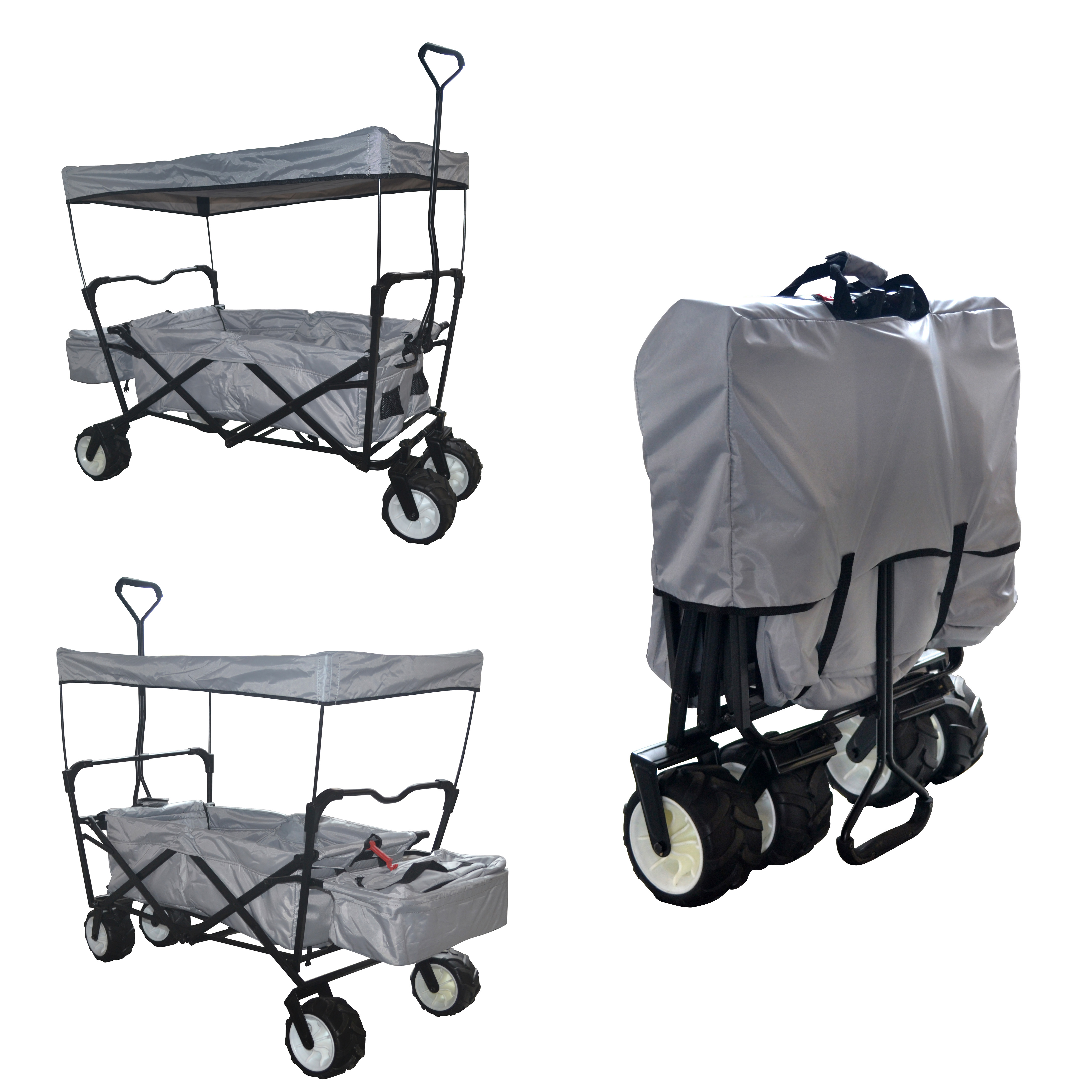 GREY OUTDOOR FOLDING WAGON CANOPY GARDEN UTILITY TRAVEL CART LARGE BEACH TIRES