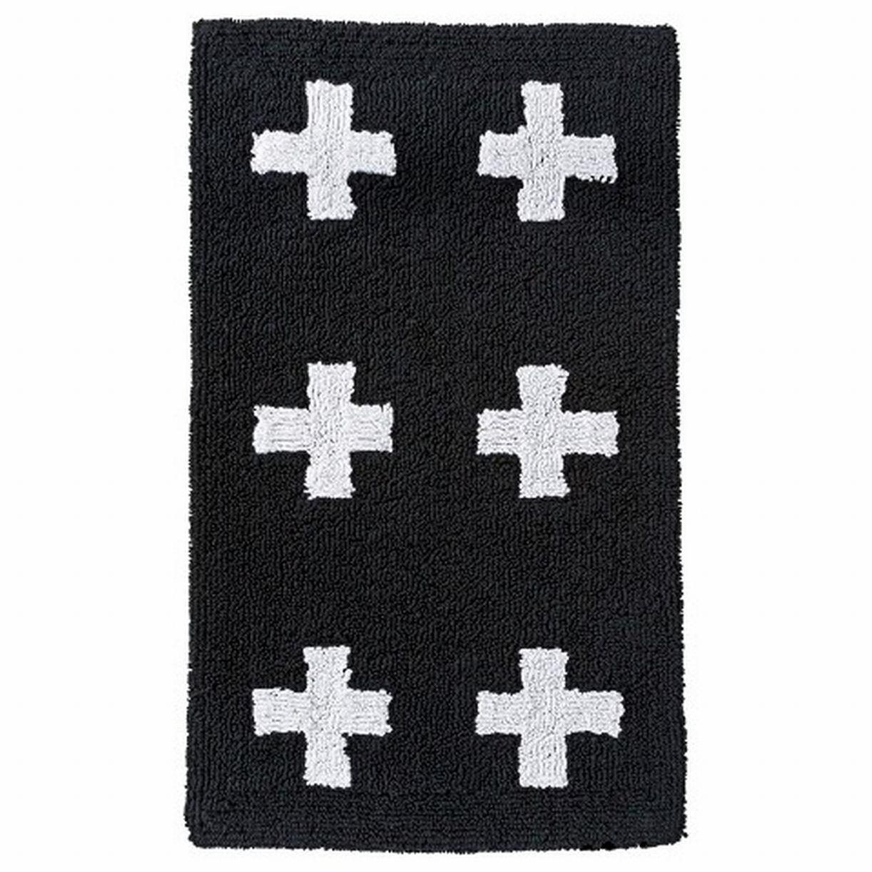 Room Essentials Cotton Bath Rug Black White Cross Accent Mat 20x34