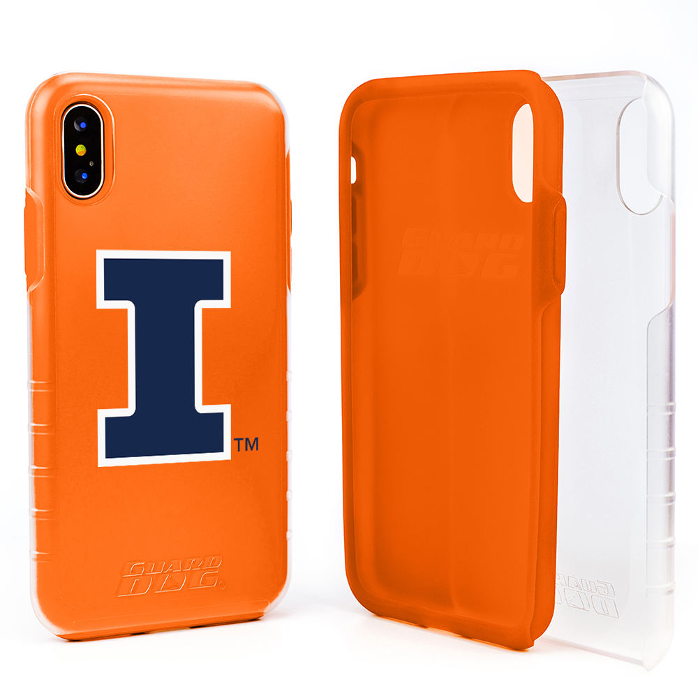 Illinois Fighting Illini Clear Hybrid Case for iPhone X / Xs with Guard Glass Screen Protector - Clear with Orange