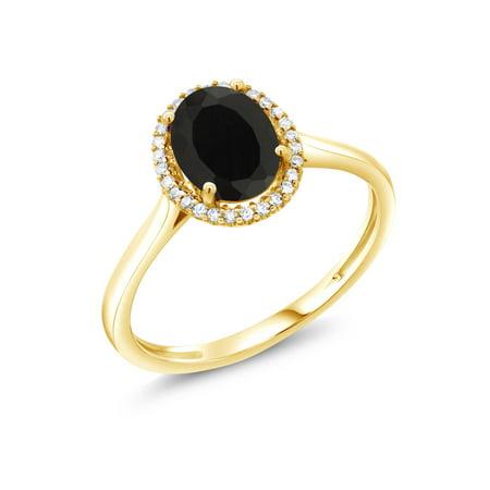 - 1.25 Ct Oval Black Onyx 10K Yellow Gold Diamond Women's Ring
