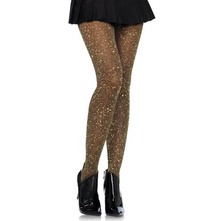 Women's Lurex Sparkly Shiny Glitter Footed Tights, 3 Pairs, Black/Gold - Glitter Pantyhose