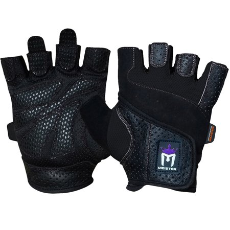Meister Women's Fit Weight Lifting Gloves (Pair) - Black - X-Small - Black Spiderman Gloves