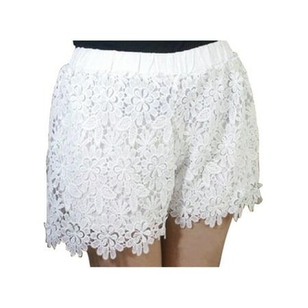 Womens Fashion Casual Elastic High Waist Lace Shorts Short Hot Pants