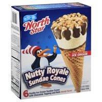 North Star Sundae Cones, Nutty Royale, 6 Pack, Box, 4.0 OZ