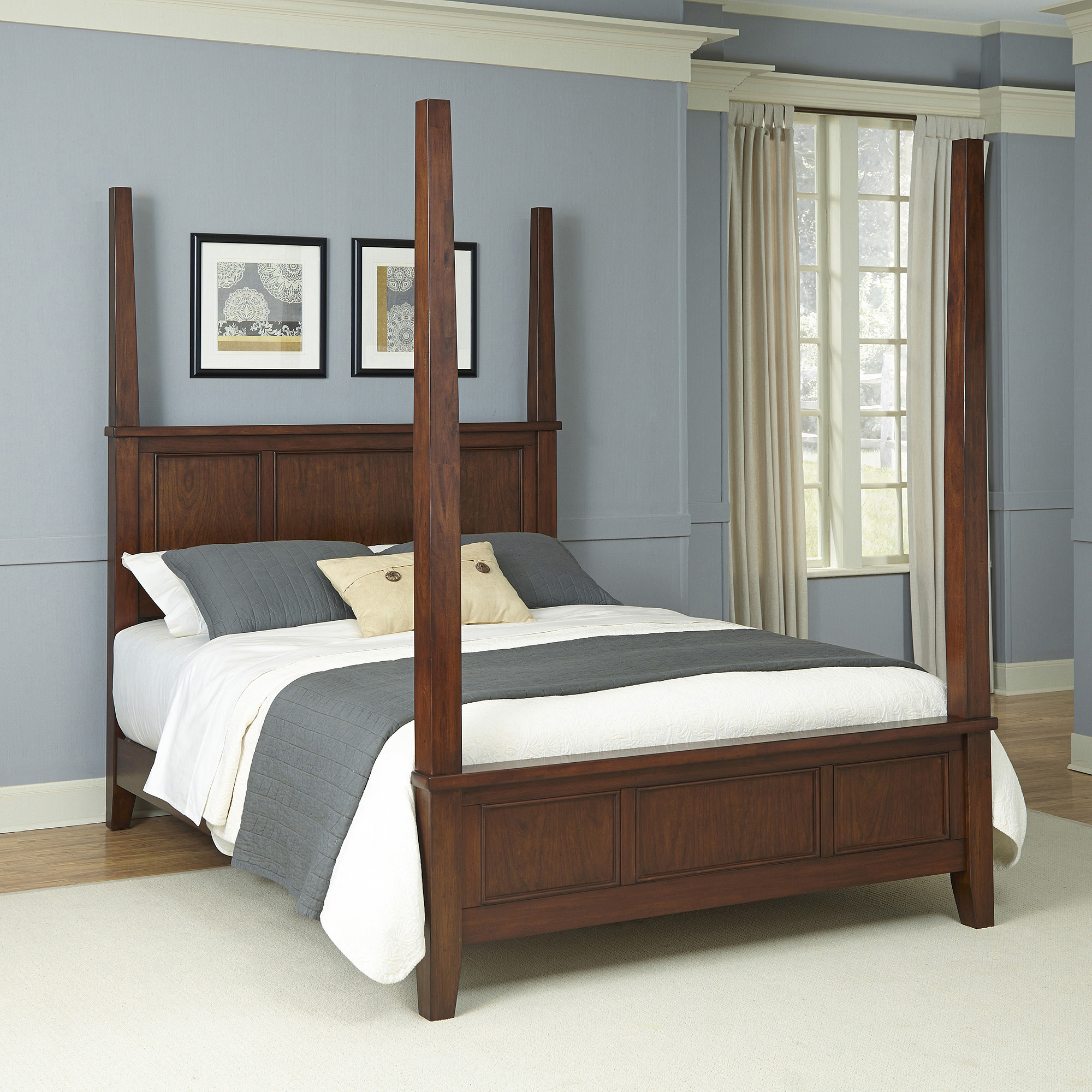 Home Styles 3-piece Chesapeake Media Dresser and Poster Bedroom Set, Brown