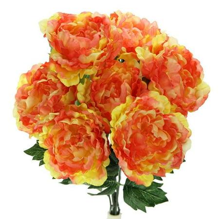 Admired By Nature GPB7305-SHERBET 7 Stems Artificial Full Blooming Peony Flower Bush, (Sherbet Stem)