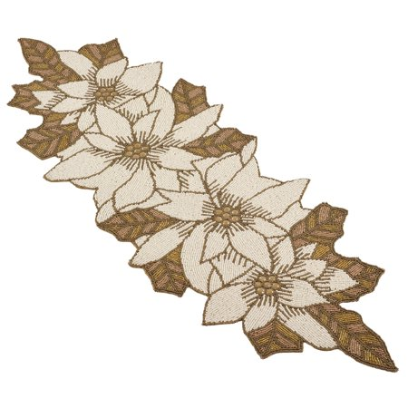 Ivory Table Runner (Fennco Styles Hand Beaded Pointsettia Table Runner (12
