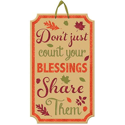 "AMSCAN AUTUMN BLESSING HANGING SIGN DECORATION, THANKSGIVING PARTY ,BROWN, 20"" X 11 5/8"""