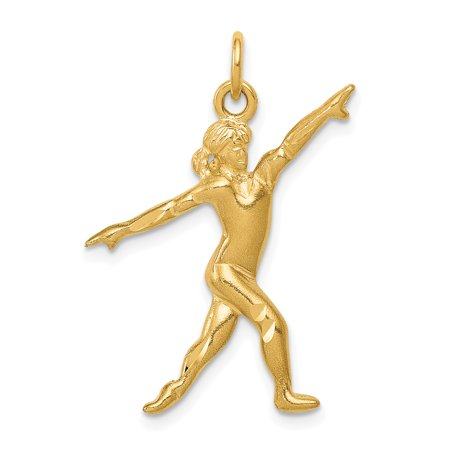 14kt Yellow Gold Gymnast Pendant Charm Necklace Sport Gymnastic Fine Jewelry Ideal Gifts For Women Gift Set From Heart 14k Gold Gymnastics Charm
