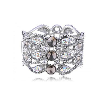 Clear Crystal Rhinestone Bracelet - Fashion Costume Silver Smoke Grey Clear Crystal Rhinestone Cuff Bangle Bracelet