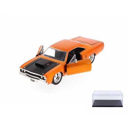 Diecast Car & Display Case Package - Fast & Furious Dom's Plymouth Road Runner Hard Top, Copper - JADA 97127 - 1/24 Scale Diecast Model Toy Car w/Display -