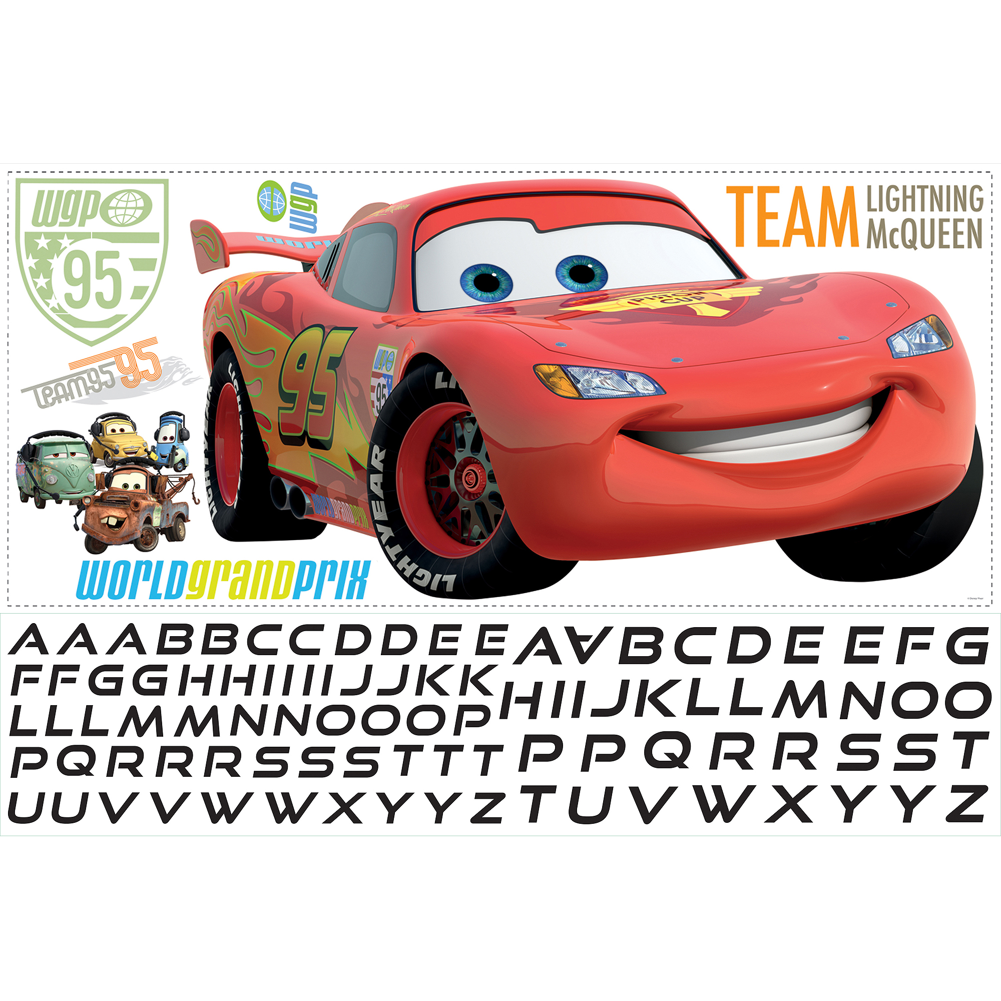RoomMates Cars 2 Lightening Peel-and-Stick Giant Wall Decal with Personalization