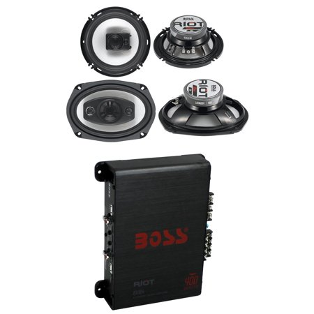"2) Boss R94 6x9"" 500W 4 Way Car + 2) 6.5"" 300W 3 Way Speakers + 400W 4-Ch Amp"