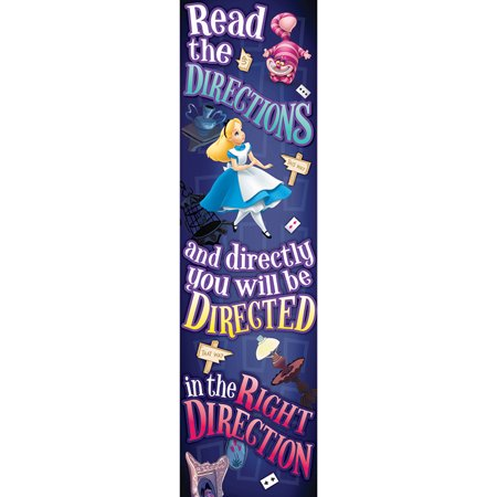 ALICE IN WONDERLAND RIGHT DIRECTION VERTICAL BANNER - Alice In Wonderland Halloween Decorations