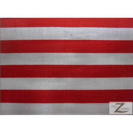 "STRIPED/STRIPE POLY COTTON PRINT FABRIC - Red/White - POLYCOTTON - 1/2"" STRIPES (P114)Brand new. Shipped by LA Linen, Los Angeles, CA By LA Linen"