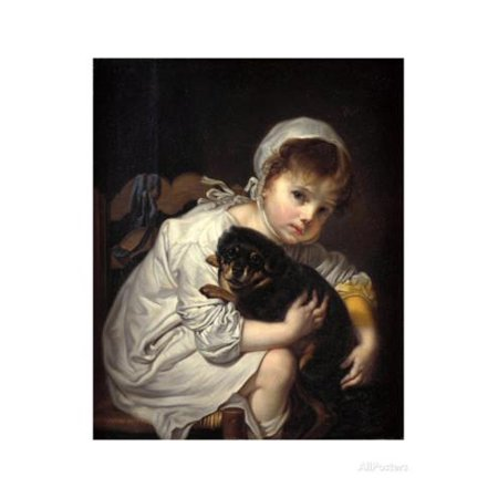 Girl with a Small Dog by Jean-Baptiste Greuze Print Wall Art