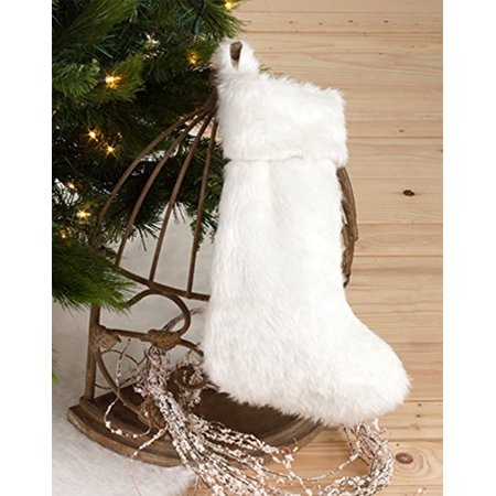 Noël Blanc Faux Fur Design White Holiday Christmas Stocking, One Piece ()