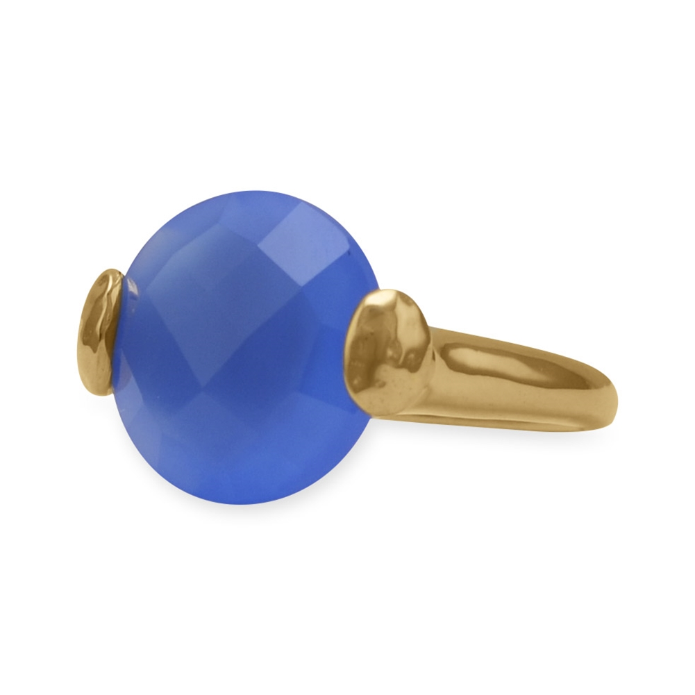 Blue Chalcedony Ring Faceted Round Gold-plated Brass, Sizes 5-9 by unknown