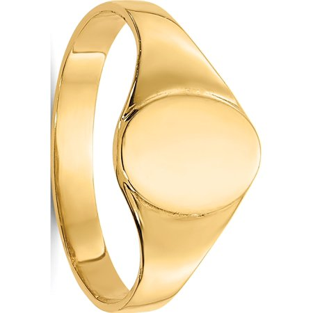 14k Yellow Gold High Polished Oval Baby Signet (Yellow Gold Oval Signet Ring)
