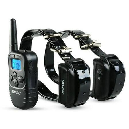 AGPtek Rechargeable Waterproof 2 Dog Training Collar 100 Level Shock Vibra LCD